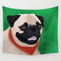 puppies Wall Tapestries featuring Pug by Nir P