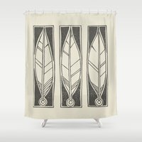 ethnic Shower Curtains featuring Ethnic Feathers by rob art | simple