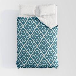 Mid Century Modern Diamond Swirl Pattern Peacock Blue Comforters