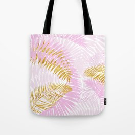 Aloha- Pink Tropical Palm Leaves and Gold Metal Foil Leaf Garden Tote Bag