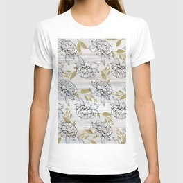 Rustic white wood black elegant faux gold floral T-shirt