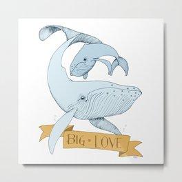 Big Love (gold and blue) Humpback Whales Metal Print