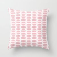 macaroon Throw Pillows featuring Pink Macaroon Pattern - Bakery Art - French Macaron by French Macaron Art Print and Decor Store