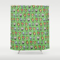 animal crossing Shower Curtains featuring Animal Crossing Design 1 by Caleb Cowan