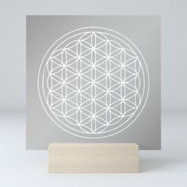 Grey and White Flower of Life Mandala Mini Art Print
