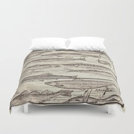 father's day fisherman gifts whitewashed wood lakehouse freshwater fish Duvet Cover