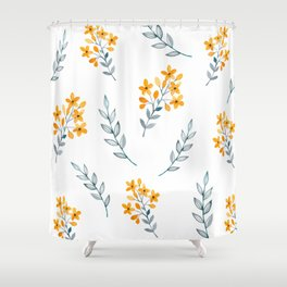 Yellow Flower Obsession Shower Curtain
