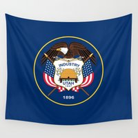 utah Wall Tapestries featuring Utah State Flag - Authentic version by LonestarDesigns2020 is Modern Home Decor