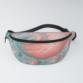 Living Coral Teal Blue Spiral Swirl Pattern Abstract Coral Reef Fractal Fanny Pack