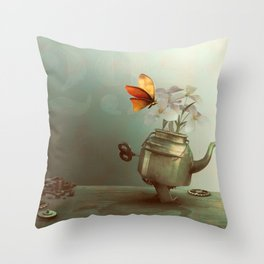 Walking teapot with butterfly Throw Pillow