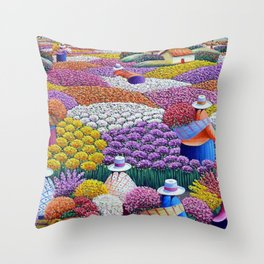 Pearl of the Andes Mountains - Valley of Starry Ranunculus Blossoms and Flower Sellers Throw Pillow