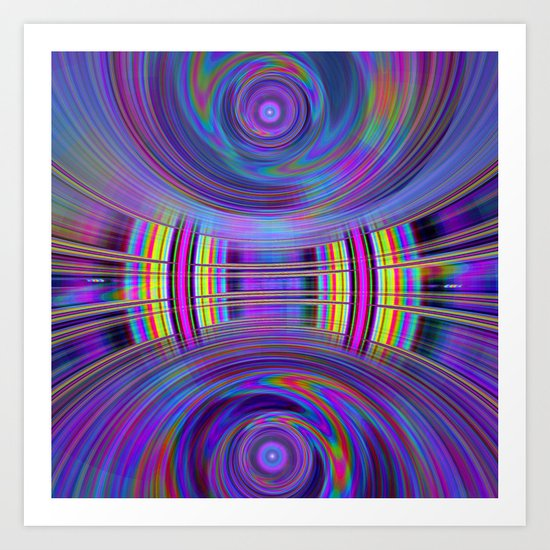 Dynamic fractal abstract in rainbow colors Art Print