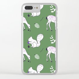 Wildlife - Happy Forest Animals Green Clear iPhone Case