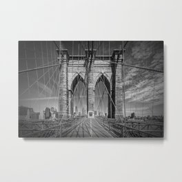 NEW YORK CITY Brooklyn Bridge in Detail Metal Print