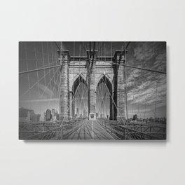 NEW YORK CITY Brooklyn Bridge in Detail Metal Print