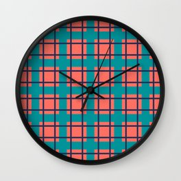 Coral, Turquoise, and Navy Plaid Wall Clock