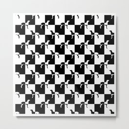 Black and White Checkerboard Weimaraner Metal Print