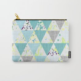 PASTEL NEON GEO FLORALS IN MINT Carry-All Pouch