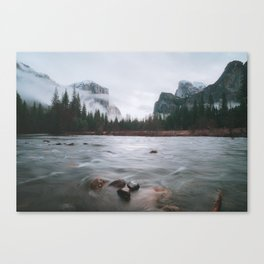 Yosemite Valley View with Fog | Yosemite National Park, CA Canvas Print