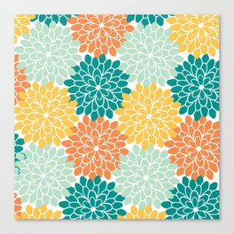 Petals in Orange, Mint, Apricot and Jade Canvas Print