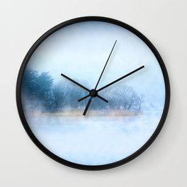 Foggy Winter Evening On The Corrib In Galway Ireland Wall Clock