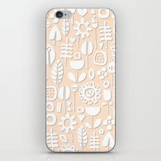 paper cut flowers white peach iPhone Skin