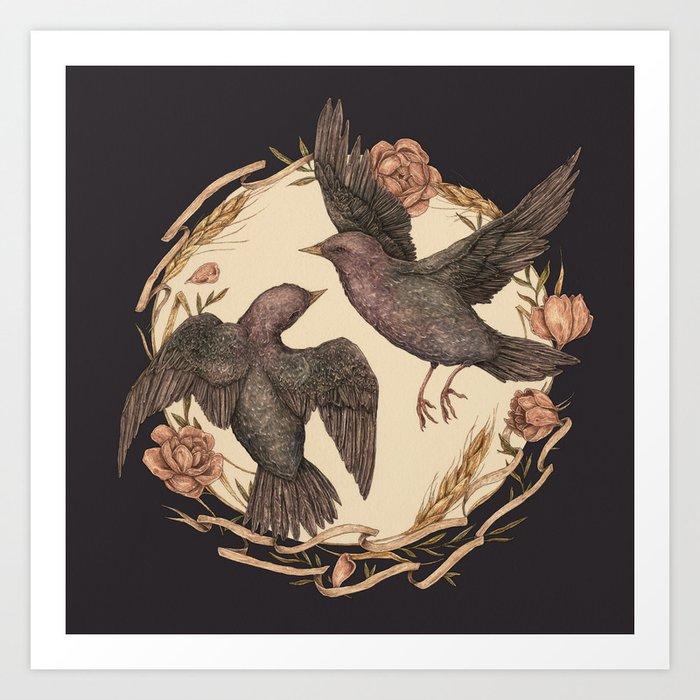 Starlings Art Print