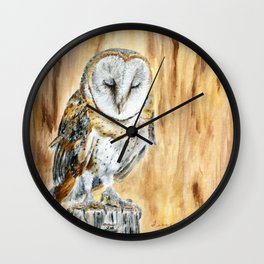 Sleeping Willow-Young Barn Owl by Teresa Thompson Wall Clock