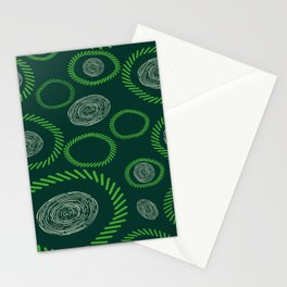 Geometric Circles Lines Green Ivory Stationery Cards