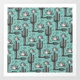 Desert Cactus Pattern 321 Turquoise Art Print