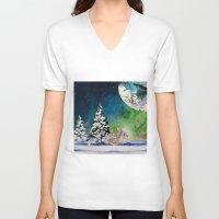 rabbit V-neck T-shirts featuring Rabbit by Cs025