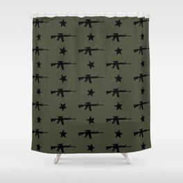 M4 Assault Rifle Pattern Shower Curtain