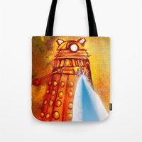 dalek Tote Bags featuring Dalek by Tony DaBronzo