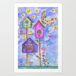 Night Bir house Art Print
