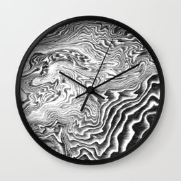 Suminagashi 3 black and white marble spilled ink ocean swirl watercolor painting Wall Clock