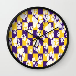 Tiger Claws on Purple and Gold Checker Pattern Digital Design Wall Clock