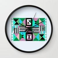 Blue Triangulation Wall Clock