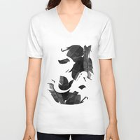 botanical V-neck T-shirts featuring Botanical Ampersand by Tamsin Lucie