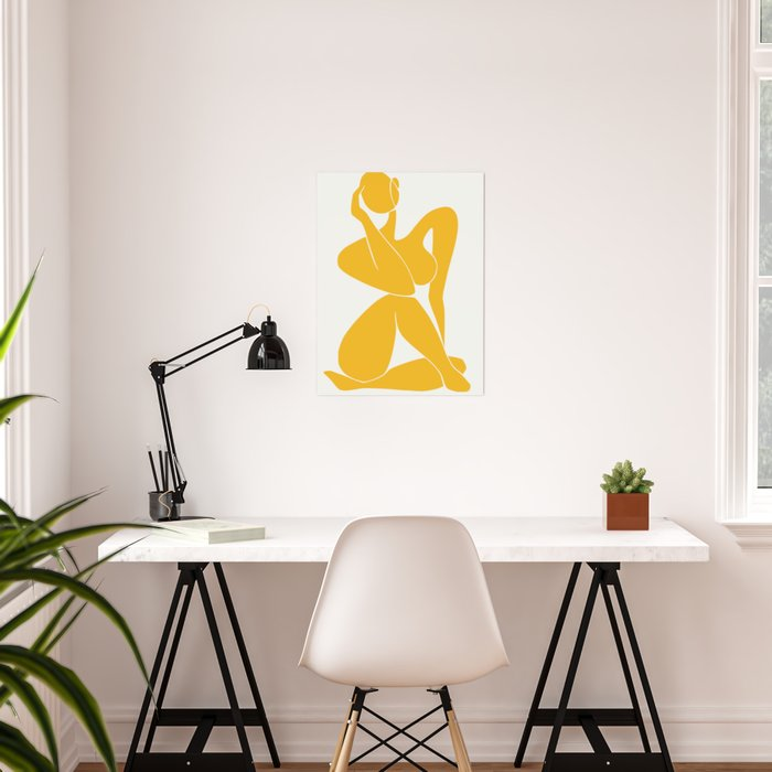 Nude sitting pose in yellow Poster