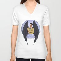 castiel V-neck T-shirts featuring Castiel by White Magician