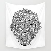 mask Wall Tapestries featuring Mask by Gloria Amaku-Inyang