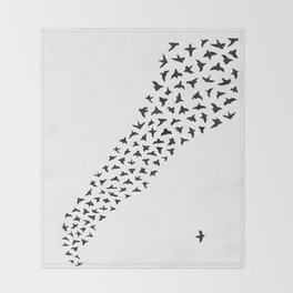 Flock of Birds // black Throw Blanket