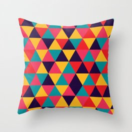 Colorful Triangles (Bright Colors) Throw Pillow