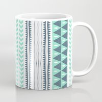 winter Mugs featuring Winter Stripe by Alice Rebecca Potter
