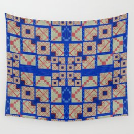 Retro Futuristic Modern Blue and Red Patchwork Geometry Wall Tapestry
