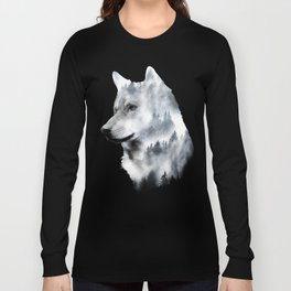 Double exposure wolf Long Sleeve T-shirt