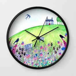 Summer Meadow, landscape painting Wall Clock
