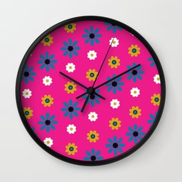 flowers in pink Wall Clock