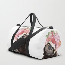 Sloth with Flowers Crown in White Duffle Bag