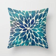 Petal Burst - Turquoise Throw Pillow